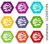 striped planet icon set many...   Shutterstock . vector #1125037496