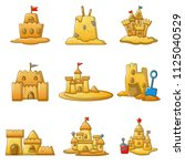 sandcastle beach icons set.... | Shutterstock . vector #1125040529