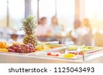 Stock photo fresh fruit to choose from in cafeteria of a school 1125043493