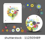 envelope and cd cover  floral... | Shutterstock .eps vector #112505489