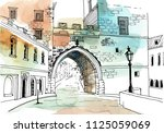 urban sketch with landscape of... | Shutterstock .eps vector #1125059069