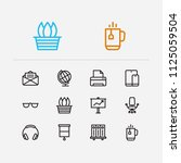 workplace icons set. library...