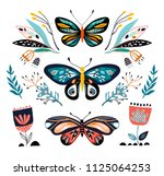 Stock vector abstract collection with different butterflies and plants isolated on white 1125064253