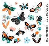 Stock vector butterflies and flowers hand drawn collection of different element isolated on white 1125072110