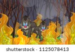 Baboons In The Wildfire Forest...