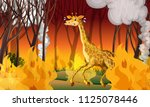 giraffe running away from... | Shutterstock .eps vector #1125078446