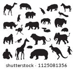 african animals  silhouette ... | Shutterstock .eps vector #1125081356