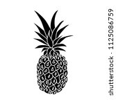 pineapple silhouette on white... | Shutterstock .eps vector #1125086759