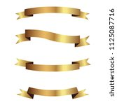 set of golden ribbons vector. | Shutterstock .eps vector #1125087716