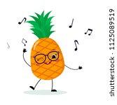 cute pineapple cartoon... | Shutterstock .eps vector #1125089519