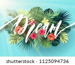 summer lettering with green... | Shutterstock . vector #1125094736