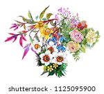 watercolor pattern with... | Shutterstock . vector #1125095900