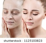 portrait of woman before and... | Shutterstock . vector #1125103823
