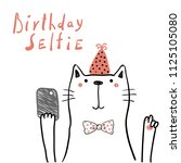 hand drawn birthday card with...   Shutterstock .eps vector #1125105080