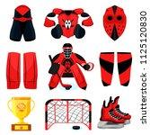 hockey set. modern flat... | Shutterstock .eps vector #1125120830