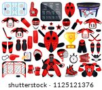 big hockey sport set. modern... | Shutterstock .eps vector #1125121376