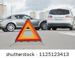 accident or crash with two... | Shutterstock . vector #1125123413