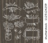 vintage elements hand drawn... | Shutterstock .eps vector #1125124259