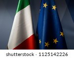 flag of italy and eu flag... | Shutterstock . vector #1125142226
