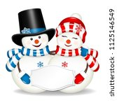 Pair Of Christmas Snowmen With...