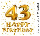 raster copy happy birthday 43th ... | Shutterstock . vector #1125148709