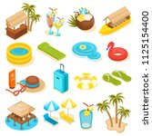 set of isometric travel icons ... | Shutterstock .eps vector #1125154400
