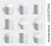 realistic cylinders set. three... | Shutterstock .eps vector #1125157343