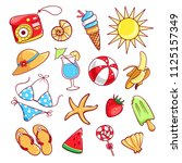 summer cute icon set. sun and... | Shutterstock .eps vector #1125157349