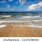 blue sea with small waves... | Shutterstock . vector #1125158444