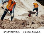 worker in reflective vest and... | Shutterstock . vector #1125158666