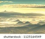foggy forest landscape in... | Shutterstock . vector #1125164549