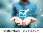 2d illustration checkbox tick | Shutterstock . vector #1125165674