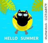 hello summer. black cat... | Shutterstock .eps vector #1125168479