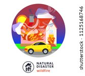 natural disaster.wildfire.house ... | Shutterstock .eps vector #1125168746