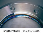 steel weld joined pipe to plate ... | Shutterstock . vector #1125170636