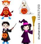 children wearing halloween... | Shutterstock .eps vector #112517153