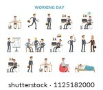 businessman daily routine.... | Shutterstock . vector #1125182000