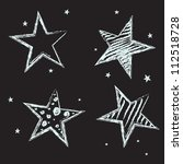 set of hand drawn stars on... | Shutterstock .eps vector #112518728