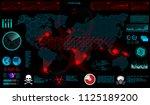world virus  gui  in hud style. ... | Shutterstock .eps vector #1125189200