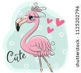cute cartoon flamingo on a blue ... | Shutterstock .eps vector #1125202796