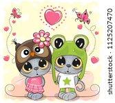 kittens boy and girl on a... | Shutterstock .eps vector #1125207470