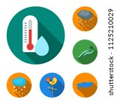 different weather flat icons in ... | Shutterstock .eps vector #1125210029
