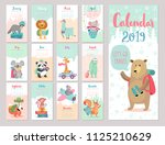 calendar 2019. cute monthly... | Shutterstock .eps vector #1125210629