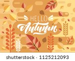 hello autumn text in  lettering ... | Shutterstock .eps vector #1125212093