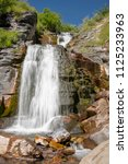 cascading waterfall in the...