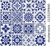 collection of   white and blue... | Shutterstock . vector #1125239840