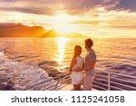 travel cruise ship couple on... | Shutterstock . vector #1125241058