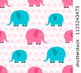 pattern with elephants | Shutterstock .eps vector #1125243473