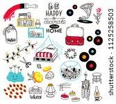 set of doodles of interior... | Shutterstock .eps vector #1125258503