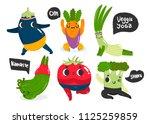 veggie yoga. sporty vegetables. ...   Shutterstock .eps vector #1125259859